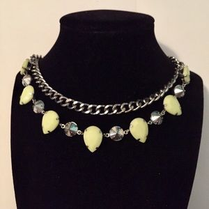 Jewelry - Neon Yellow & Silver Beaded, Chain Necklace